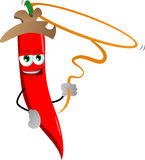 Red hot chili pepper cowboy with lasso Royalty Free Stock Photos