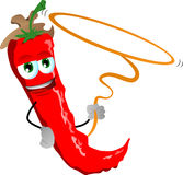 Red hot chili pepper cowboy with lasso Royalty Free Stock Images