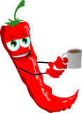 Red hot chili pepper with a cup of coffee Royalty Free Stock Photos