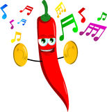 Red hot chili pepper with cymbals Stock Images
