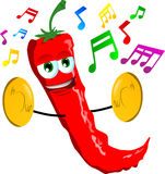 Red hot chili pepper with cymbals Stock Photos