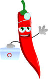 Red hot chili pepper doctor with first aid kit Royalty Free Stock Photos
