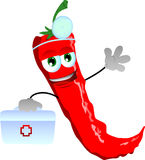 Red hot chili pepper doctor with first aid kit Stock Images