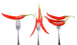 Red hot chili pepper on a fork isolated Stock Images