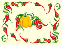 Red hot chili pepper frame corner. A Red hot chili pepper frame corner withsome free composition elements Royalty Free Stock Photography