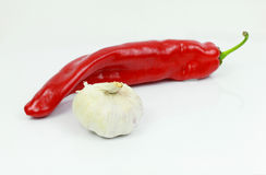 Red hot chili pepper with garlic. On whithe background Royalty Free Stock Image