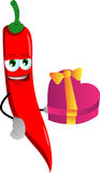 Red hot chili pepper with gift for Valentines Day Stock Images
