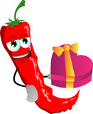 Red hot chili pepper with gift for Valentines Day Stock Photos