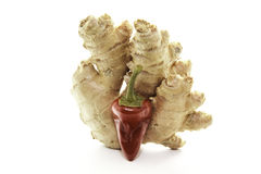 Red hot chili pepper and ginger Royalty Free Stock Photography