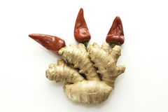 Red hot chili pepper and ginger Stock Photo