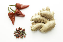 Red hot chili pepper and ginger Stock Images
