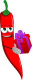 Red hot chili pepper giving you a gift box Royalty Free Stock Photo