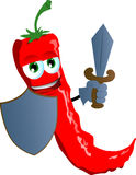 Red hot chili pepper guard with shield and sword Stock Images