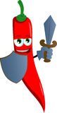 Red hot chili pepper guard with shield and sword Stock Photography