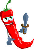 Red hot chili pepper guard with sword Stock Photography