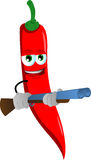 Red hot chili pepper with a gun Royalty Free Stock Photo