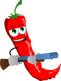Red hot chili pepper with a gun Royalty Free Stock Photos