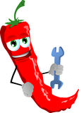 Red hot chili pepper handyman holding a wrench Royalty Free Stock Photo