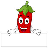 Red Hot Chili Pepper Holding Banner. A happy cartoon red hot chili pepper character holding a blank banner, isolated on white background. Eps file available Royalty Free Stock Photos