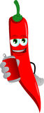 Red hot chili pepper holding beer or soda can Royalty Free Stock Images