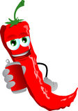 Red hot chili pepper holding beer or soda can Royalty Free Stock Photography