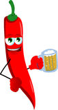 Red hot chili pepper holding beer Stock Photo