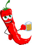 Red hot chili pepper holding beer Stock Photography