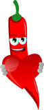 Red hot chili pepper holding a big red heart Royalty Free Stock Photos