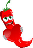 Red hot chili pepper holding a big red heart Stock Photo