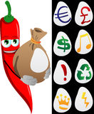 Red hot chili pepper holding a big sack with variable signs Stock Image