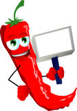 Red hot chili pepper holding blank board Stock Photography