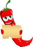 Red hot chili pepper holding a blank old paper Stock Photos