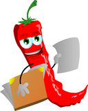 Red hot chili pepper holding a blank paper and a notebook Royalty Free Stock Image