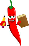 Red hot chili pepper holding a book and a pencil Stock Photography