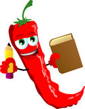 Red hot chili pepper holding a book and a pencil Royalty Free Stock Photography