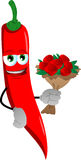 Red hot chili pepper holding a bunch of flowers Stock Image
