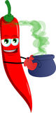Red hot chili pepper holding cauldron with potion Royalty Free Stock Images