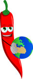 Red hot chili pepper holding Earth Royalty Free Stock Image