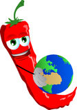 Red hot chili pepper holding Earth Stock Photos