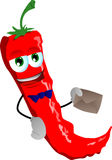Red hot chili pepper holding an envelope Stock Photo