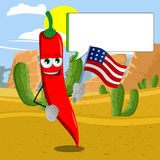 Red hot chili pepper holding the flag of the USA in the desert with speech bubble Royalty Free Stock Photography