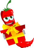 Red hot chili pepper holding gift box Stock Photos