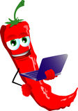 Red hot chili pepper holding laptop Royalty Free Stock Image