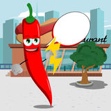 Red hot chili pepper holding lighting in front of a restaurant with speech bubble Stock Images