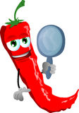 Red hot chili pepper holding a mirror Royalty Free Stock Photos