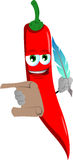 Red hot chili pepper holding paper scroll and feather Stock Photos