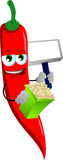 Red hot chili pepper holding popcorn and blank board Stock Image