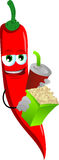 Red hot chili pepper holding popcorn and soft drink Stock Images