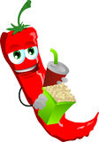 Red hot chili pepper holding popcorn and soft drink Royalty Free Stock Photos