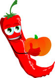 Red hot chili pepper holding pumpkin Royalty Free Stock Photography